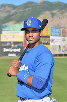 Yensys Capellan (10) of the Ogden Raptors poses for a photo during media day on June 14, 2014 at Lindquist Field in Ogden, Utah. (Stephen Smith/Four Seam Images)