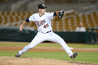 Glendale Desert Dogs pitcher Trevor May (45), of the Minnesota Twins organization, during an Arizona Fall League game against the Peoria Javelinas on October 14, 2013 at Camelback Ranch Stadium in Glendale, Arizona.  Glendale defeated Peoria 5-1.  (Mike Janes/Four Seam Images)