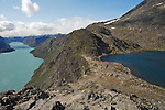 Besseggen, famous Norwegian scenery, with the lake Gjende in the background