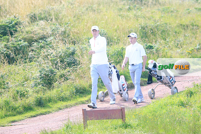 Sean Towndrow and Paul Kenner (ENG) during the Home Internationals day 2 foursomes matches supported by Fairstone Financial Management Ltd. at Royal Portrush Golf Club, Portrush, Co.Antrim, Ireland.  13/08/2015.<br /> Picture: Golffile | Fran Caffrey<br /> <br /> <br /> All photo usage must carry mandatory copyright credit (&copy; Golffile | Fran Caffrey)