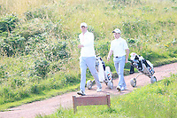 Sean Towndrow and Paul Kenner (ENG) during the Home Internationals day 2 foursomes matches supported by Fairstone Financial Management Ltd. at Royal Portrush Golf Club, Portrush, Co.Antrim, Ireland.  13/08/2015.<br /> Picture: Golffile   Fran Caffrey<br /> <br /> <br /> All photo usage must carry mandatory copyright credit (© Golffile   Fran Caffrey)