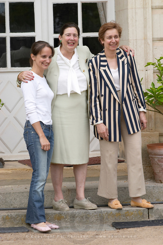 Three generations wine growers: Madame de Jessey, Evelyne de Jessey-Pontbriand, Isaure Cribiore-Pontbriand. Domaine du Closel, Chateau des Vaults. Savennieres, Anjou, Loire, France