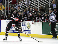All eyes are on St. Cloud State's Oliver Lauridsen as he works the puck into the UNO zone during the third period. UNO beat St. Cloud State 3-0 Friday night at Qwest Center Omaha.  (Photo by Michelle Bishop)