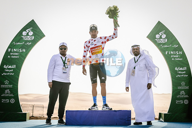 Heinrich Hausler (AUS) Bahrain-Mclaren finishes 2nd at the end of Stage 1 and takes the Most Aggressive Rider Jersey of the Saudi Tour 2020 running 173km from Saudi Arabian Olympic Committee to Jaww, Saudi Arabia. 4th February 2020. <br /> Picture: ASO/Pauline Ballet | Cyclefile<br /> All photos usage must carry mandatory copyright credit (© Cyclefile | ASO/Pauline Ballet)