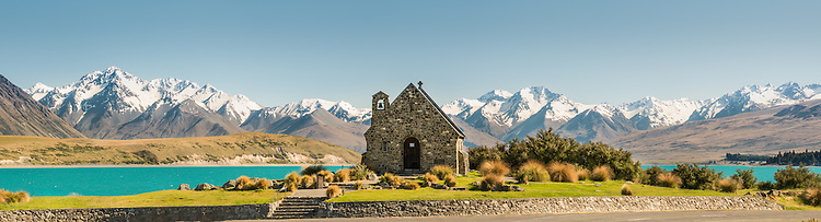High resolution image,  Church of the Good Shepherd at Lake Tekapo with snow covered mountains. South Canterbury New Zealand.