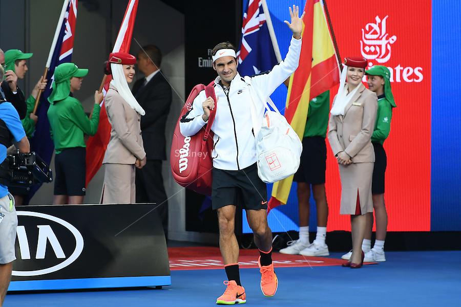 January 29, 2017: Roger Federer of Switzerland enters the court for the Men's Final against Rafael Nadal of Spain on day 14 of the 2017 Australian Open Grand Slam tennis tournament in Melbourne, Australia. Photo Sydney Low