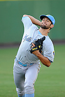 Starting pitcher Nick Martinez (22) of the Myrtle Beach Pelicans before a game against the Potomac Nationals on Monday, June 24, 2013, at G. Richard Pfitzner Stadium in Woodbridge, Virginia. Martinez is the Texas Rangers' No. 27 prospect, according to Baseball America. Myrtle Beach won, 3-2. (Tom Priddy/Four Seam Images)