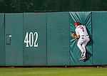 13 October 2016: Washington Nationals outfielder Trea Turner crashes into the outfield wall padding, unable to field the ball during Game 5 of the NLDS against the Los Angeles Dodgers at Nationals Park in Washington, DC. The Dodgers edged out the Nationals 4-3, to take Game 5 of the Series, 3 games to 2, and move on to the National League Championship Series against the Chicago Cubs. Mandatory Credit: Ed Wolfstein Photo *** RAW (NEF) Image File Available ***