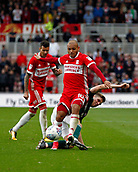 30th September 2017, Riverside Stadium, Middlesbrough, England; EFL Championship football, Middlesbrough versus Brentford; Martin Braithwaite of Middlesbrough is fouled by Chris Mepham of Brentford