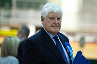 Pictured: Byron Davies chairman of the Welsh Conservatives during the Newport West by-election ballot count at the Geraint Thomas National Velodrome of Wales in Newport, South Wales, UK. <br /> Thursday 04 April 2019<br /> Re: Voters in Newport West are going to the polls to elect a new member of Parliament.<br /> The seat in south east Wales became vacant following the death of Paul Flynn earlier in February.