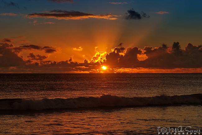 Sunset on the island of Kiritimati in Kiribati