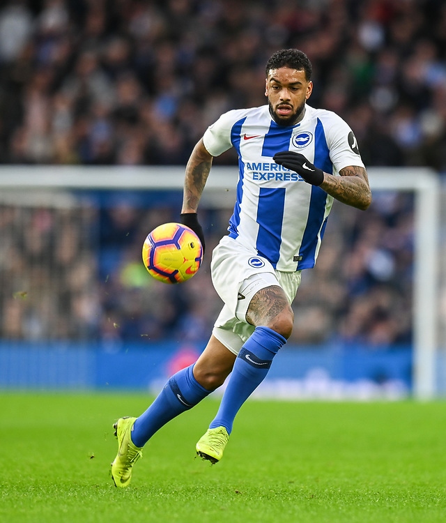 Brighton & Hove Albion's Jurgen Locadia <br /> <br /> Photographer David Horton/CameraSport<br /> <br /> The Premier League - Brighton and Hove Albion v Liverpool - Saturday 12th January 2019 - The Amex Stadium - Brighton<br /> <br /> World Copyright © 2018 CameraSport. All rights reserved. 43 Linden Ave. Countesthorpe. Leicester. England. LE8 5PG - Tel: +44 (0) 116 277 4147 - admin@camerasport.com - www.camerasport.com