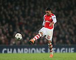 Arsenal's Alex Oxlade-Chamberlain fires a shot against the bar<br /> <br /> UEFA Champions League- Arsenal vs Borussia Dortmund- Emirates Stadium - England - 26th November 2014 - Picture David Klein/Sportimage