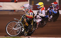 Heat 3: Grzegorz Zengota (white), Maciej Jankowski (yellow) and Kauko Nieminen (red)  - Lakeside Hammers vs Swindon Robins, Elite League Speedway at the Arena Essex Raceway, Purfleet - 03/09/10 - MANDATORY CREDIT: Rob Newell/TGSPHOTO - Self billing applies where appropriate - 0845 094 6026 - contact@tgsphoto.co.uk - NO UNPAID USE.