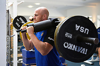 Matt Garvey of Bath Rugby in the gym. Bath Rugby pre-season training on July 2, 2018 at Farleigh House in Bath, England. Photo by: Patrick Khachfe / Onside Images