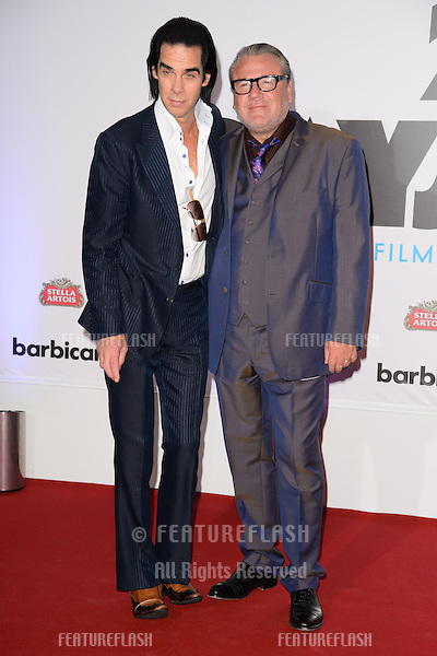 "Ray Winstone and musician, Nick Cave arriving for the ""20,000 Days on Earth"" Gala Screening at the Barbican Centre, London. 17/09/2014 Picture by: Steve Vas / Featureflash"