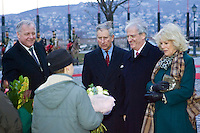 Hungarian president Laszlo Solyom (2nd R) meets Britain's Prince Charles (3rd R) and his wife Camilla, Duchess of Cornwall (R) visit Budapest, Hungary. Wednesday, 17. March 2010. ATTILA VOLGYI