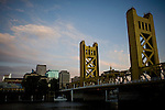 The Tower Bridge spans the Sacramento River in Sacramento, California.
