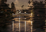 Venice Canals Bridge Christmas Decorated shot with Galaxy NX and 55-200mm multiple exposure mode