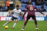 Bolton Wanderers' Jason Lowe competing with Swansea City's Leroy Fer<br /> <br /> Photographer Andrew Kearns/CameraSport<br /> <br /> The EFL Sky Bet Championship - Bolton Wanderers v Swansea City - Saturday 10th November 2018 - University of Bolton Stadium - Bolton<br /> <br /> World Copyright © 2018 CameraSport. All rights reserved. 43 Linden Ave. Countesthorpe. Leicester. England. LE8 5PG - Tel: +44 (0) 116 277 4147 - admin@camerasport.com - www.camerasport.com