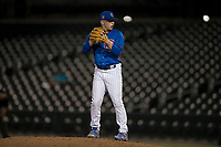 AZL Cubs relief pitcher Riley McCauley (64) prepares to deliver a pitch during an Arizona League game against the AZL Brewers at Sloan Park on June 29, 2018 in Mesa, Arizona. The AZL Cubs 1 defeated the AZL Brewers 7-1. (Zachary Lucy/Four Seam Images)