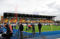 20130216 Copyright onEdition 2013©.Free for editorial use image, please credit: onEdition..General view of the media in front of the new East Stand before the Premiership Rugby match between Saracens and Exeter Chiefs at Allianz Park on Saturday 16th February 2013 (Photo by Rob Munro)..For press contacts contact: Sam Feasey at brandRapport on M: +44 (0)7717 757114 E: SFeasey@brand-rapport.com..If you require a higher resolution image or you have any other onEdition photographic enquiries, please contact onEdition on 0845 900 2 900 or email info@onEdition.com.This image is copyright onEdition 2013©..This image has been supplied by onEdition and must be credited onEdition. The author is asserting his full Moral rights in relation to the publication of this image. Rights for onward transmission of any image or file is not granted or implied. Changing or deleting Copyright information is illegal as specified in the Copyright, Design and Patents Act 1988. If you are in any way unsure of your right to publish this image please contact onEdition on 0845 900 2 900 or email info@onEdition.com
