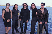 WANTAGH NY - AUGUST 09: Mike Portnoy, Derek Sherinian, James LaBrie, John Petrucci and John Myung of Dream Theater pose for a portrait at The Jones Beach Amphitheater on August 9, 1998 in Wantagh, New York. Photo by Larry Marano © 1998