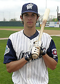 April 20, 2004:  Drew Macias of the Fort Wayne Wizards, Midwest League (Low-A) affiliate of the San Diego Padres, during a game at Memorial Stadium in Fort Wayne, IN.  Photo by:  Mike Janes/Four Seam Images