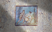 Roman Erotic Fresco from Pompeii depicting  a Satyr surprising a maiden,  Naples National Archaeological Museum - 50-79 AD , inv no 27693 ,