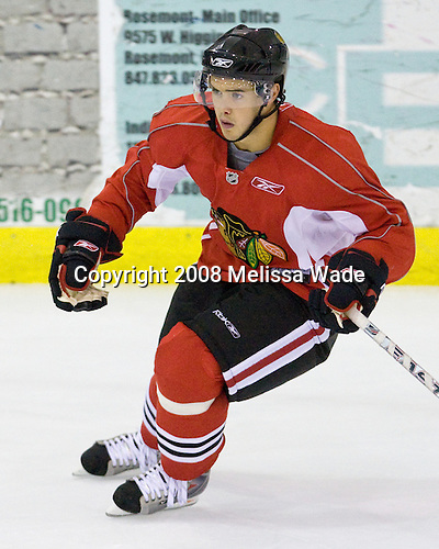 Dan Bertram (Red 14) - Prospects and free agents took part in the 2008 Chicago Blackhawks Prospects Camp at Edge Ice Arena in Bensenville, Illinois, on Friday, July 11, 2008.