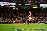 Dan Biggar of Wales kicks his sides first conversion during the Guinness Six Nations Championship Round 3 match between Wales and France at the Principality Stadium in Cardiff, Wales, UK. Saturday 22 February 2020