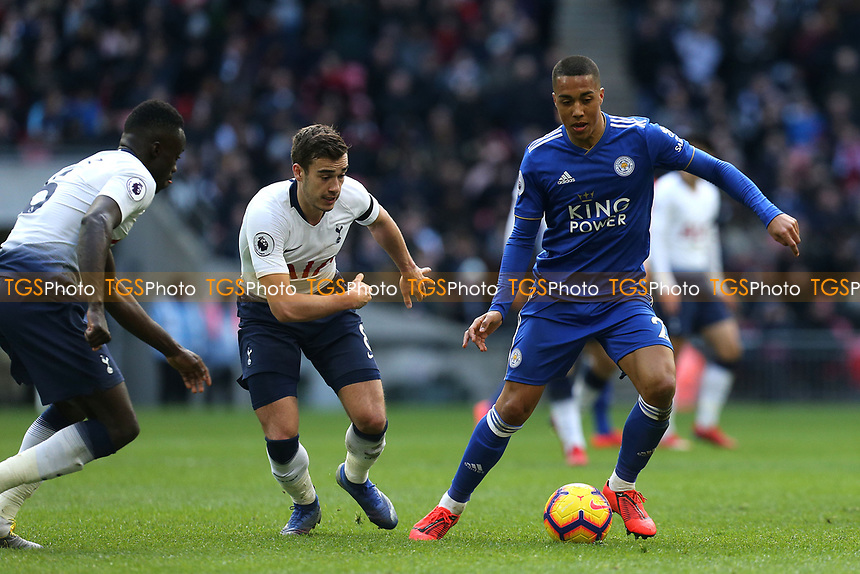 Youri Tielemans of Leicester City and Harry Winks of Tottenham Hotspur during Tottenham Hotspur vs Leicester City, Premier League Football at Wembley Stadium on 10th February 2019
