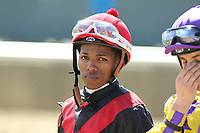 HOT SPRINGS, AR - APRIL 15: Jockey Ricardo Santana, Jr. before the Count Fleet Sprint Handicap at Oaklawn Park on April 15, 2017 in Hot Springs, Arkansas. (Photo by Justin Manning/Eclipse Sportswire/Getty Images)