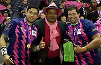 Stade Francais Paris celebrate at the end of the match<br /> <br /> Photographer Rachel Holborn/CameraSport<br /> <br /> European Rugby Challenge Cup Final - Gloucester Rugby v Stade Francais Paris - Friday 12th May 2017 - BT Murrayfield, Edinburgh<br /> <br /> World Copyright &copy; 2017 CameraSport. All rights reserved. 43 Linden Ave. Countesthorpe. Leicester. England. LE8 5PG - Tel: +44 (0) 116 277 4147 - admin@camerasport.com - www.camerasport.com