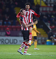 Lincoln City's Matt Green,right celebrates scoring the opening goal with team-mate Matt Rhead<br /> <br /> Photographer Andrew Vaughan/CameraSport<br /> <br /> The EFL Checkatrade Trophy Northern Group H - Lincoln City v Wolverhampton Wanderers U21 - Tuesday 6th November 2018 - Sincil Bank - Lincoln<br />  <br /> World Copyright © 2018 CameraSport. All rights reserved. 43 Linden Ave. Countesthorpe. Leicester. England. LE8 5PG - Tel: +44 (0) 116 277 4147 - admin@camerasport.com - www.camerasport.com