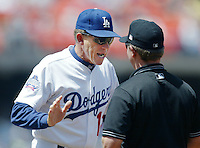 Los Angeles Dodgers Manager Jim Tracy argues with a umpire during a 2002 MLB season game at Dodger Stadium, in Los Angeles, California. (Larry Goren/Four Seam Images)