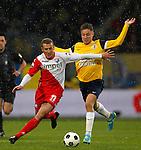 Nederland, Waalwijk, 21 april 2012.Eredivisie .Seizoen 2011-2012.RKC Waalwijk-FC Utrecht.Alexander Gerndt (l.) van FC Utrecht en Aaron Meijers van RKC strijden om de bal