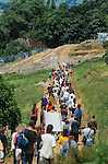 Locals march to Whitecroft .<br /> Solsbury Hill road protest.