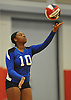 Shelter Island No. 10 Amira Lawrence serves during the Suffolk County varsity girls' volleyball Class D final against Pierson at Suffolk Community College Grant Campus on Monday, November 9, 2015. Shelter Island won 25-9, 25-4, 25-13.
