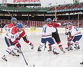 Adam Chapie (UML - 13), Jake Suter (UML - 28), Joseph Pendenza (UML - 14), Zack Kamrass (UML - 27) - The Northeastern University Huskies defeated the University of Massachusetts Lowell River Hawks 4-1 (EN) on Saturday, January 11, 2014, at Fenway Park in Boston, Massachusetts.