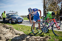 Bjorn Leukemans (BEL/Wanty-Groupe Gobert)  crashed &amp; with a bruised right arm is checking his bike to get going again<br /> <br /> 55th Brabantse Pijl 2015