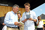 Former Tour winners Bernard Thevenet (FRA) and Andy Schleck (LUX) in the Tour Village in Mondorf-les-Bains before the start of Stage 4 of the 104th edition of the Tour de France 2017, running 207.5km from Mondorf-les-Bains, Luxembourg to Vittel, France. 4th July 2017.<br /> Picture: ASO/Alex Broadway | Cyclefile<br /> <br /> <br /> All photos usage must carry mandatory copyright credit (&copy; Cyclefile | ASO/Alex Broadway)