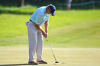 Ernie Els sinks his putt on the #3 green during the BMW PGA Golf Championship at Wentworth Golf Course, Wentworth Drive, Virginia Water, England on 25 May 2017. Photo by Steve McCarthy/PRiME Media Images.