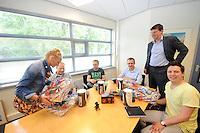 SCHAATSEN: HEERENVEEN: 06-06-2013, IJSSTADION THIALF, actiegroep thialf-moetblijven.nl te gast in Thialf, v.l.n.r. Janny Pekema(Thialf), Hedser Kok, Bas Altena, Peter van Gool, Thialf directeur Eelco Derks, Remco Folkerts, ©foto Martin de Jong