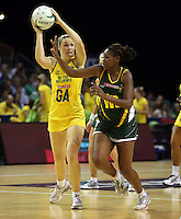 17.10.2012 Australia's Susan Pratley and South Africa's Nokuthula Qegu in action during the Australia v South Africa netball test match as part of the Quad Series played in Newcastle Australia. Mandatory Photo Credit ©Michael Bradley.