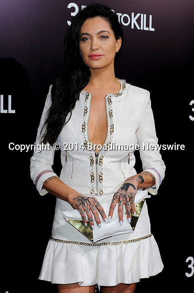 Pictured: Porcelain Black<br /> Mandatory Credit &copy; Adhemar Sburlati/Broadimage<br /> Film Premiere of 3 Days to Kill<br /> <br /> 2/12/14, Los Angeles, California, United States of America<br /> <br /> Broadimage Newswire<br /> Los Angeles 1+  (310) 301-1027<br /> New York      1+  (646) 827-9134<br /> sales@broadimage.com<br /> http://www.broadimage.com