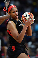 Washington, DC - July 13, 2019: Las Vegas Aces center A'ja Wilson (22) makes a move to the basket during 1st half action of game between Las Vegas Aces and Washington Mystics at the Entertainment & Sports Arena in Washington, DC. (Photo by Phil Peters/Media Images International)