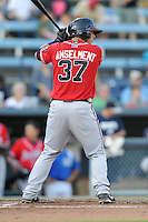 Rome Braves catcher Chase Anselment #37 awaits a pitch during a game against the Asheville Tourists at McCormick Field on July 25, 2013 in Asheville, North Carolina. The Tourists won the game 9-6. (Tony Farlow/Four Seam Images)