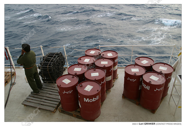 Part of the Mobile oil supply that was just delivered to ths ship. USNS COMFORT Naval hospital ship in the Persian Gulf.