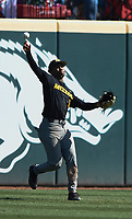 NWA Democrat-Gazette/CHARLIE KAIJO University of Missouri outfielder Josh Holt Jr. (1) throws during a baseball game, Sunday, March 17, 2019 at Baum-Walker Stadium in Fayetteville.